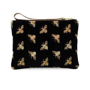 Frances Clutch - Signature Bees on Black Velvet