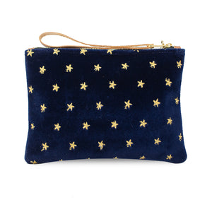 Frances Clutch - Gold Stars on Navy Velvet
