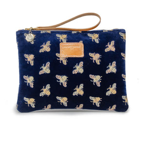Charlotte Oversized Clutch - Limited Edition Bees on Navy Velvet