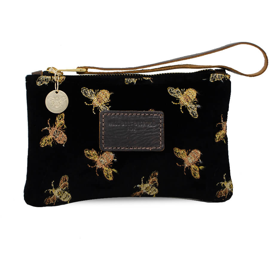 Ada Mini Clutch - Classic Bees on Black Velvet - Will Bees Bespoke