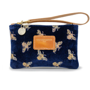 Ada Mini Clutch - Signature Bees on Navy Velvet