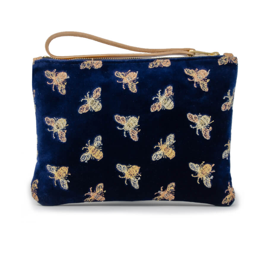 Frances Clutch - Classic Bees on Navy Velvet - Will Bees Bespoke