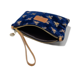 Frances Clutch - Signature Bees on Navy Velvet