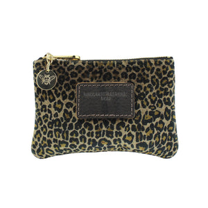 Jane Coin Purse - Dark Leopard Print Velvet