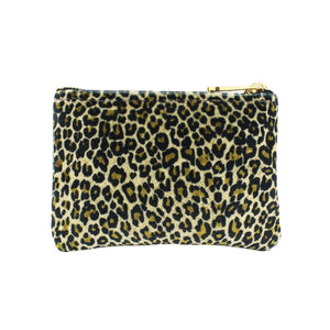 Jane Coin Purse - Light Leopard Print Velvet