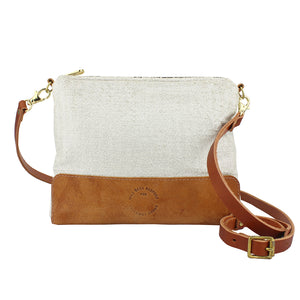 Octavia Cross Body Bag - Cream Herringbone Sparkle