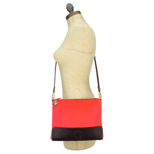 Octavia Cross Body Bag - Neon Coral Velvet