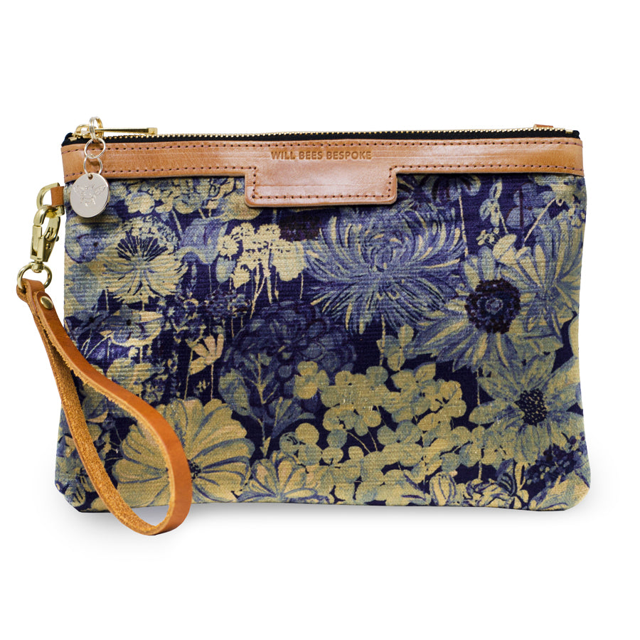 Premium Diana Clutch - Botanical Garden in Blue Sky - Will Bees Bespoke