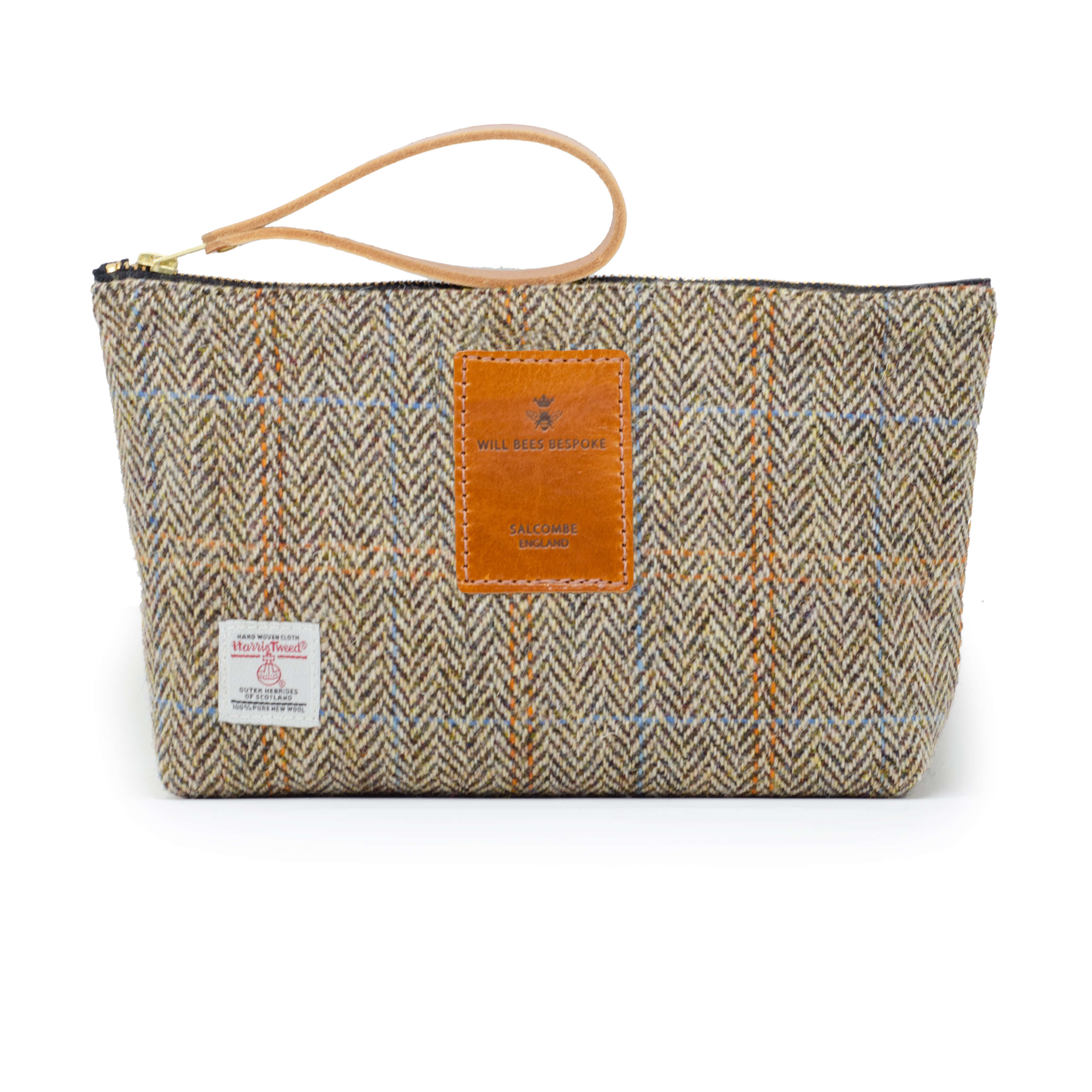 Mens Wash Bag - Harris Tweed® Brown Check