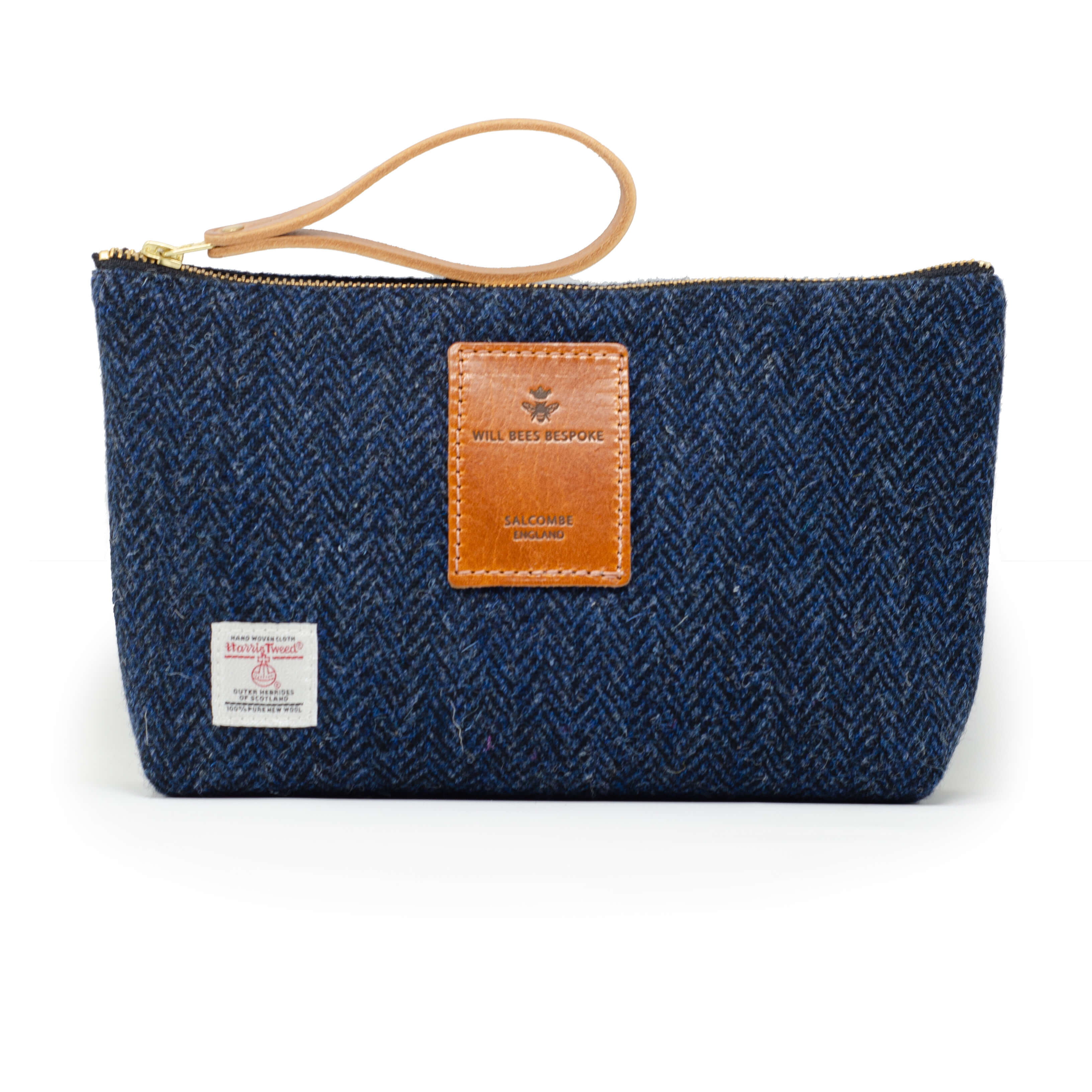 Mens Wash Bag - Harris Tweed® Navy Herringbone