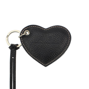 Large Leather Heart Keyring - Black