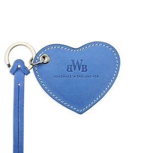 Large Leather Heart Keyring - Blue