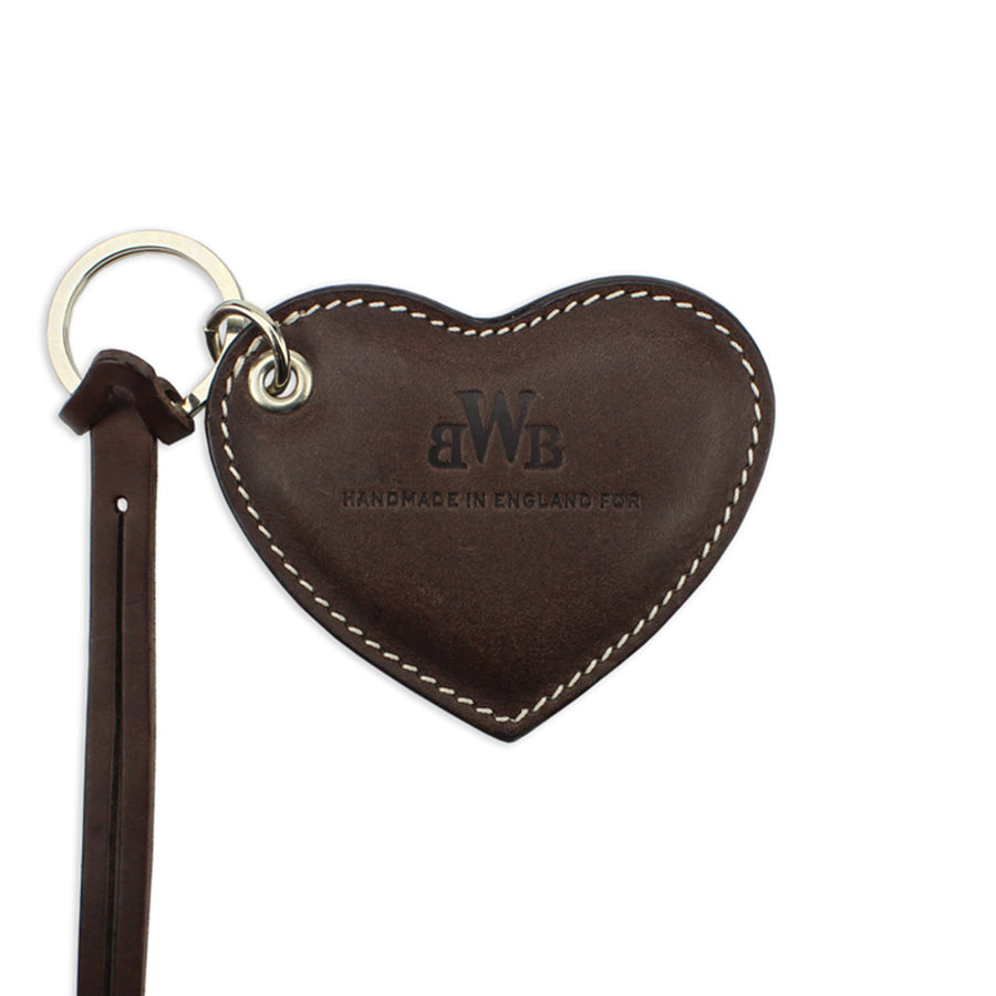 Large Leather Heart Keyring - Brown