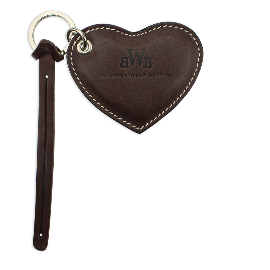 Large Leather Heart Keyring - Brown - Will Bees Bespoke