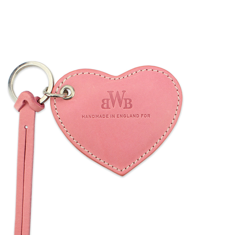Large Leather Heart Keyring - Pale Pink