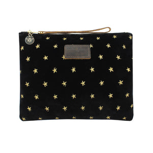 Charlotte Oversized Clutch - Limited Edition Gold Stars on Black Velvet