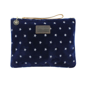 Charlotte Oversized Clutch - Limited Edition Silver Stars on Navy Velvet