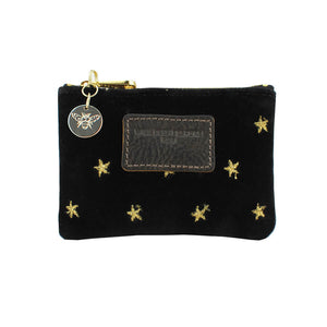 Jane Coin Purse - Limited Edition Gold Stars on Black Velvet