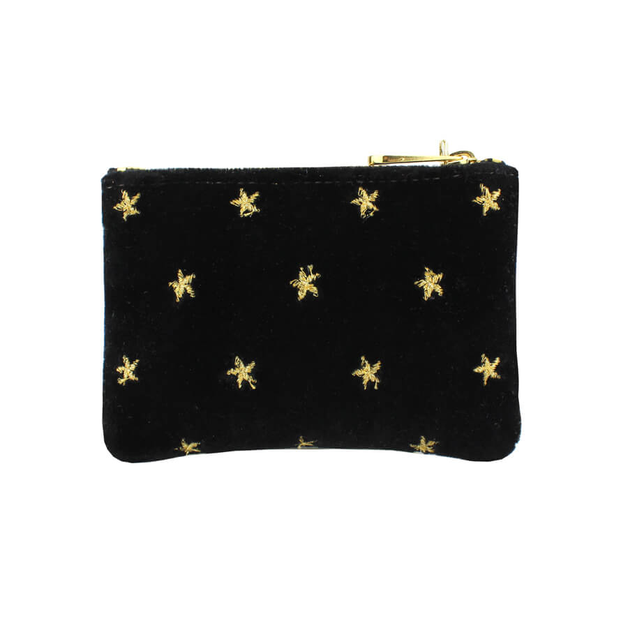 Jane Coin Purse - Gold Stars on Black Velvet - Will Bees Bespoke