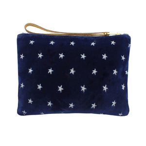 Frances Clutch - Silver Stars on Navy Velvet