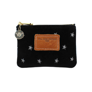 Jane Coin Purse - Limited Edition Silver Stars on Black Velvet