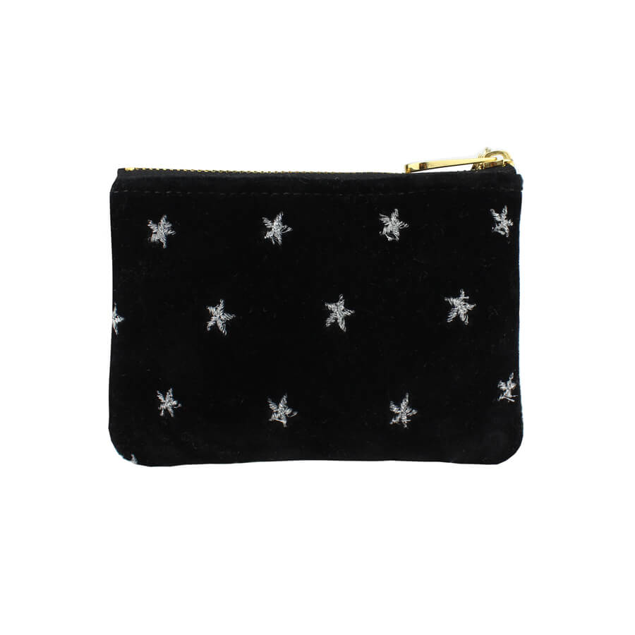 Jane Coin Purse - Silver Stars on Black Velvet - Will Bees Bespoke