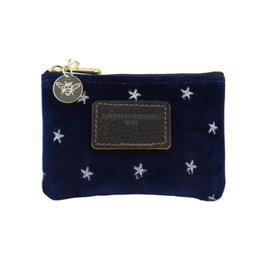 Jane Coin Purse - Silver Stars on Navy Velvet