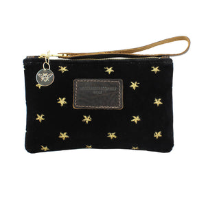 Ada Mini Clutch - Gold Stars on Black Velvet