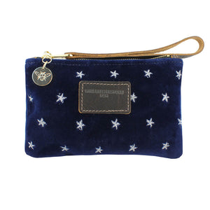 Ada Mini Clutch - Silver Stars on Navy Velvet