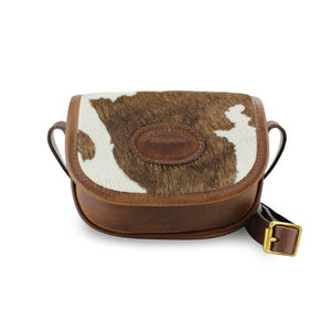 Mini Saddle Bag - Brown Cow Print