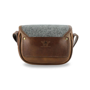 Mini Saddle Bag - Dark Grey Large Herringbone Tweed