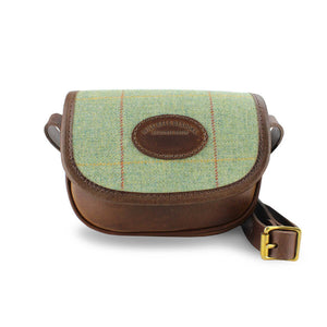 Mini Saddle Bag - Green Tweed Check