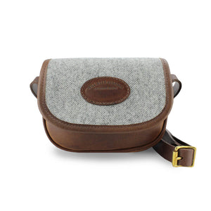 Mini Saddle Bag - Light Grey Large Herringbone Tweed