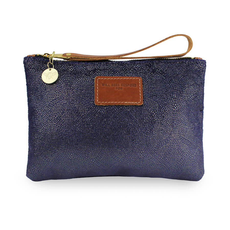 Frances Clutch - Blue Paisley Sparkle - Will Bees Bespoke