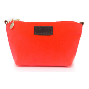 Audrey Make up Bag - Neon Coral Velvet