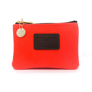 Jane Coin Purse - Neon Coral Velvet