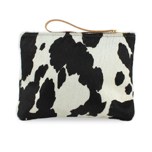Charlotte Oversized Clutch - Black Cow Print