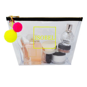 Alicia Large Clear Make up Bag - Neon Yellow
