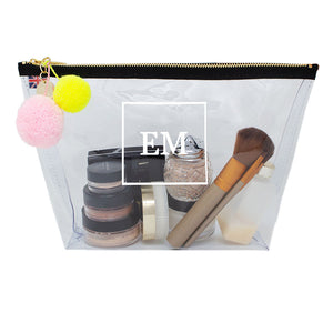 Alicia Large Clear Make up Bag - White