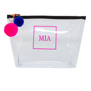 Alicia Large Clear Make up Bag - Neon Pink