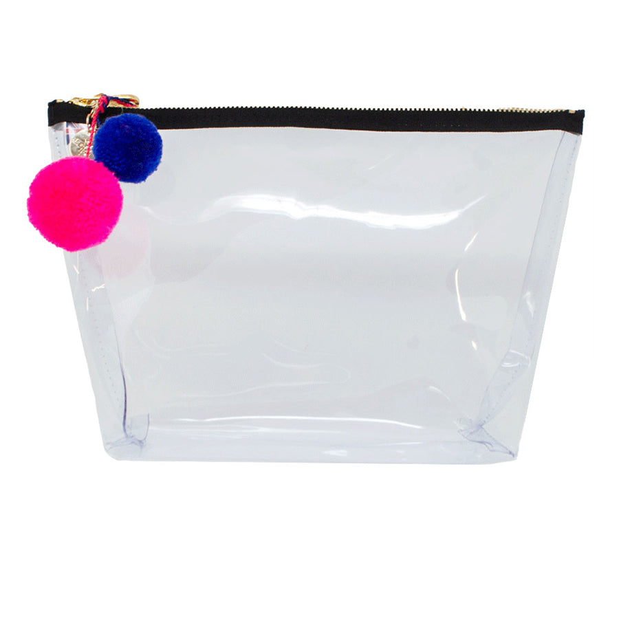 Alicia Large Clear Make up Bag - Neon Pink - Will Bees Bespoke