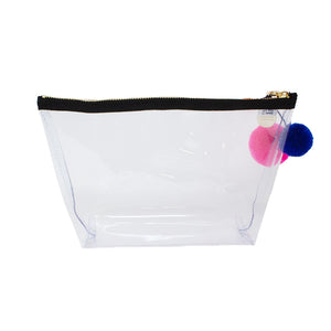 Alicia Medium Clear Make up Bag - Neon Pink