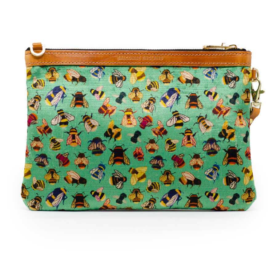 Premium Diana Clutch - Bee party in Mint Tea - Will Bees Bespoke