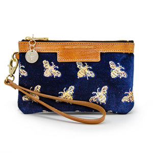 Premium Diana Mini Clutch - Signature Bees on Navy Velvet