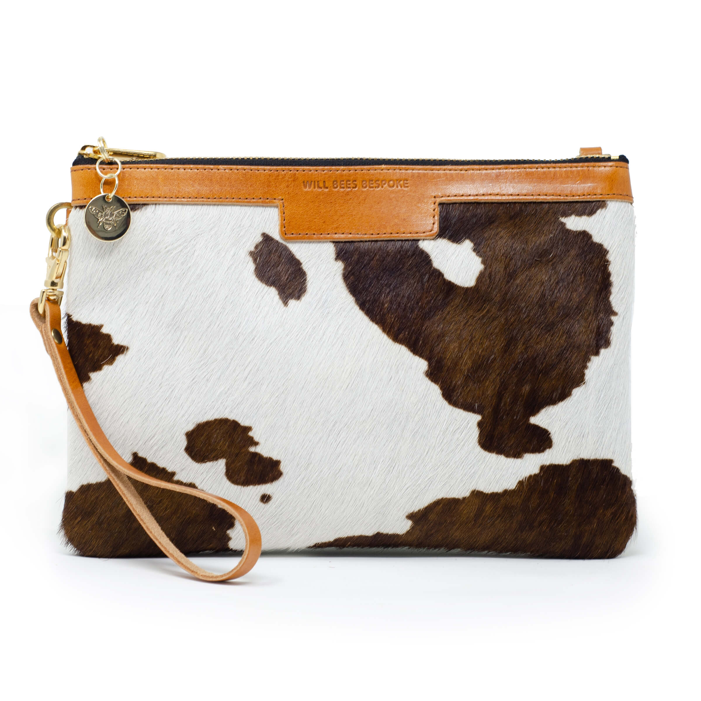 Premium Diana Clutch - Brown Cow Print - Will Bees Bespoke