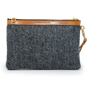 Premium Diana Clutch - Harris Tweed® Grey Herringbone