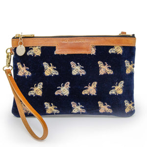 Premium Diana Clutch - Signature Bees on Navy Velvet