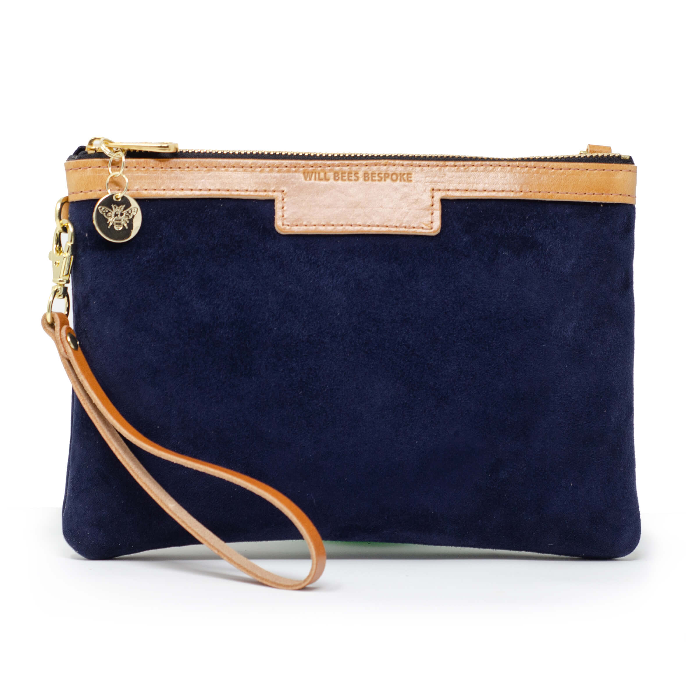 Premium Diana Clutch - Navy Suede - Will Bees Bespoke