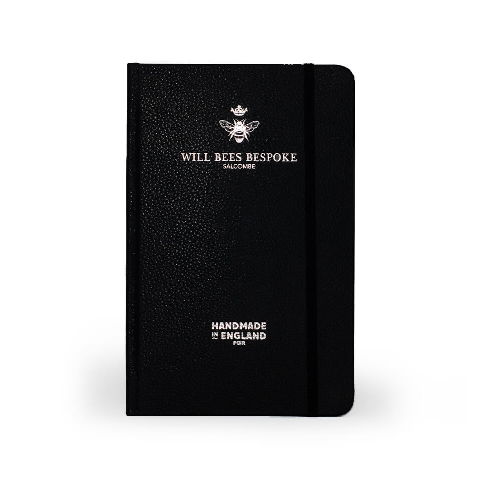 Quarto Notebook - Recycled Leather in Black - Will Bees Bespoke