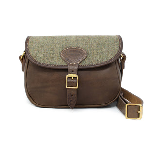 Rosalind Saddle Bag - Green Tweed Herringbone